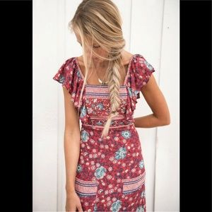 Spell & The Gypsy Folk Town Frill Maxi Dress Wine